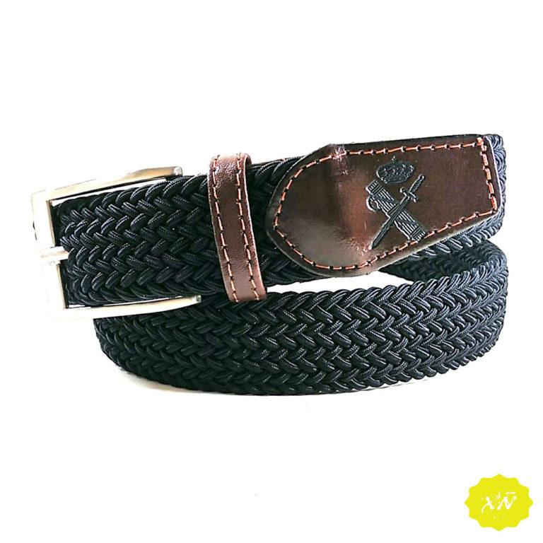 Cinturón lona elástico con punteras de piel grabado escudo guardia civil