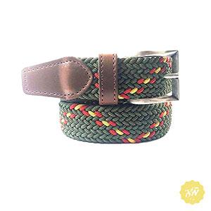 Cinturón de lona elástico con punteras de piel y dibujo bandera