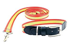 Collar de perro de piel combinado con bandera de España 2 cm de ancho