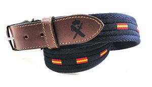 cinturon guardia civil lona piel azul marino
