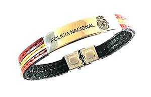 Pulsera de piel escudo policia nacional España