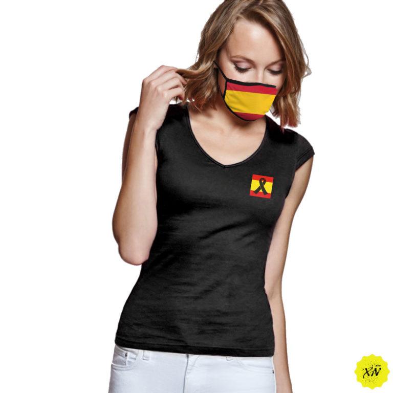 camiseta mujer crespon negro España
