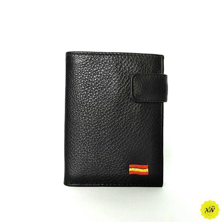 billetera piel hombre con broche y monedero bordado