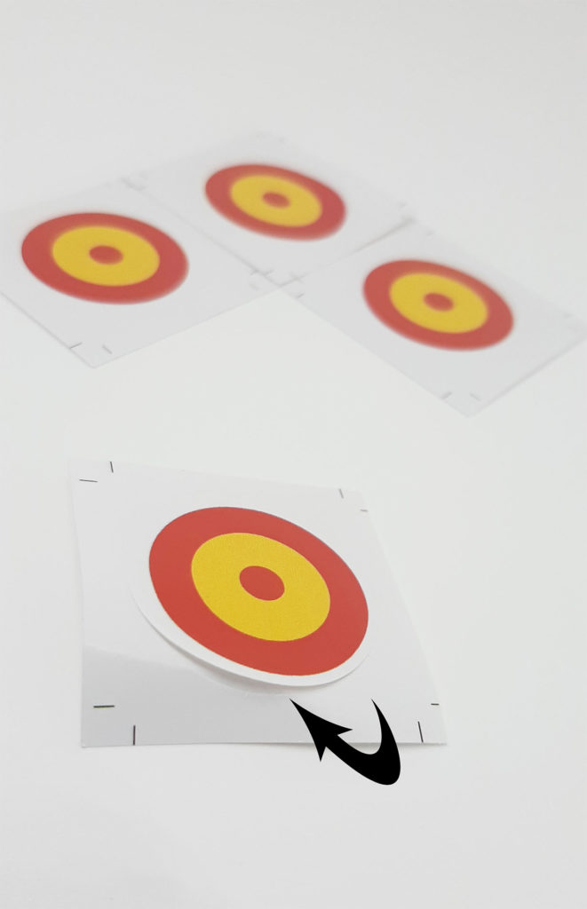 pegatinas con forma de diana y los colores de la bandera de España