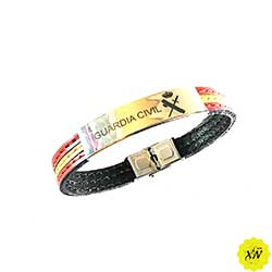 Pulsera de piel Guardia Civil con terminales de acero inoxidable