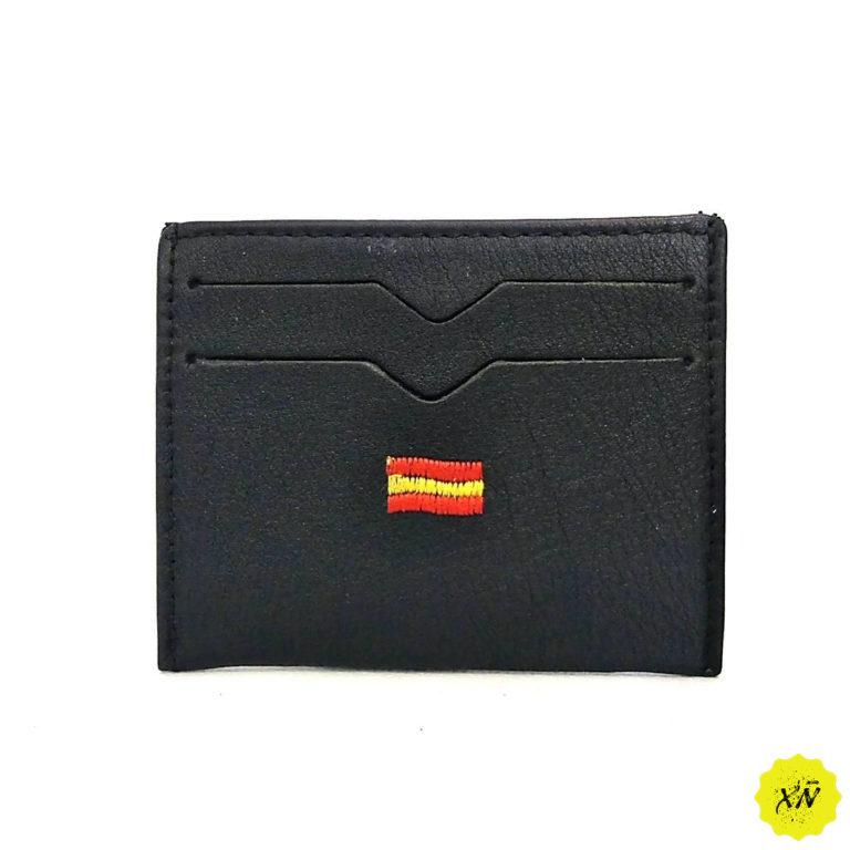 tarjetero de piel con bandera de España negro
