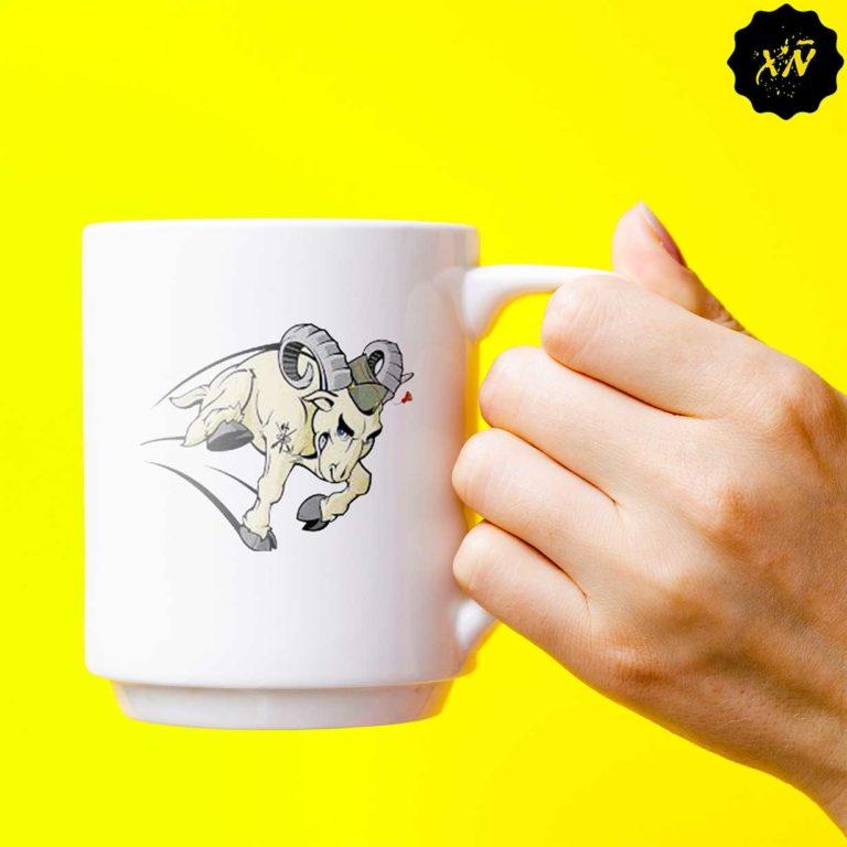 Taza ceramica con el dibujo de la cabra de La Legion española