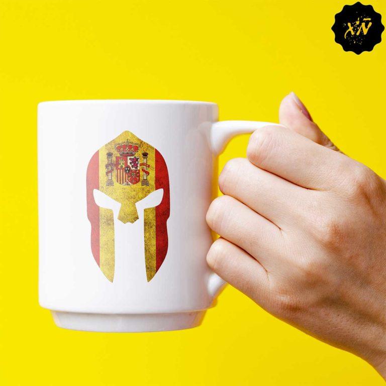 taza ceramica con dibujo de espartanos