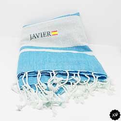 toalla pareo con nombre personalizado y bandera de España