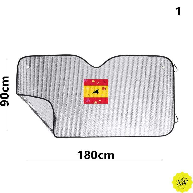 parasol coche con bandera nacional y toro