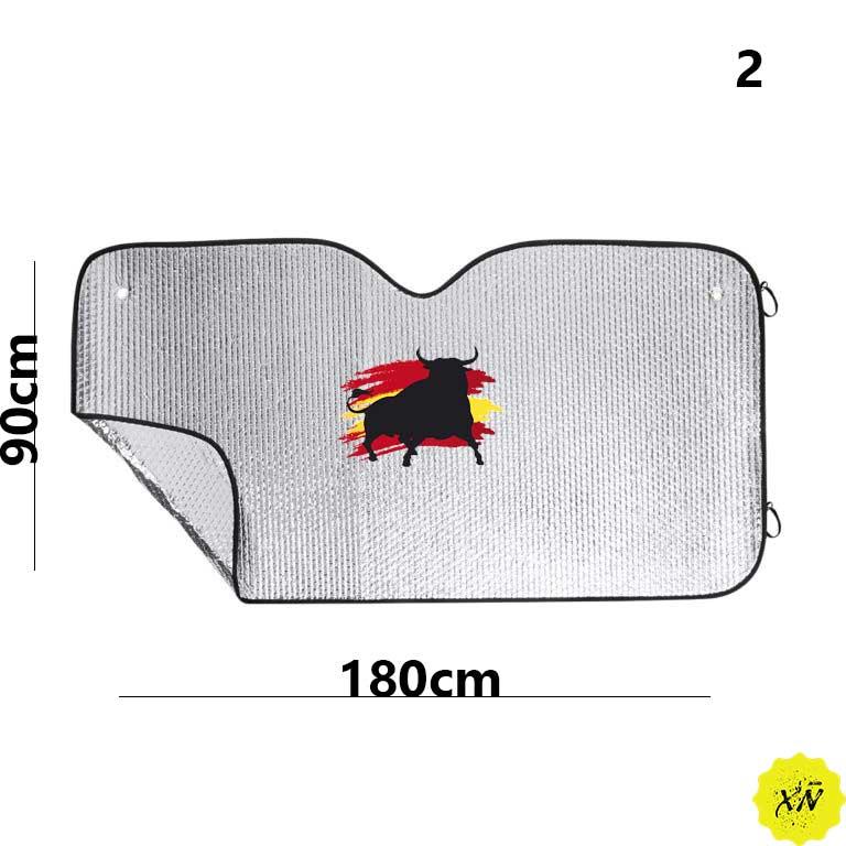 parasol coche con toro y bandera de España