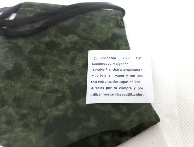 mascarilla color militar reutilizable