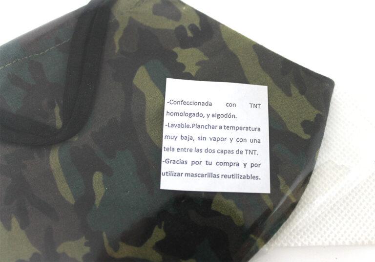 Mascarilla militar con bandera de España